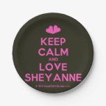 [Two hearts] keep calm and love sheyanne  Paper Plates 7 Inch Paper Plate