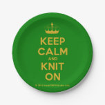 [Knitting crown] keep calm and knit on  Paper Plates 7 Inch Paper Plate
