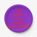 [Crown] keep calm and love nicky longo  Paper Plates 7 Inch Paper Plate