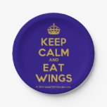 [Crown] keep calm and eat wings  Paper Plates 7 Inch Paper Plate