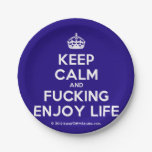 [Crown] keep calm and fucking enjoy life  Paper Plates 7 Inch Paper Plate