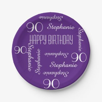 Paper Plates, 90th Birthday Party Repeating Names