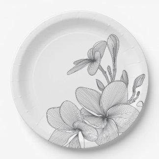 Paper Plates 9 in -Plumeria Flowers