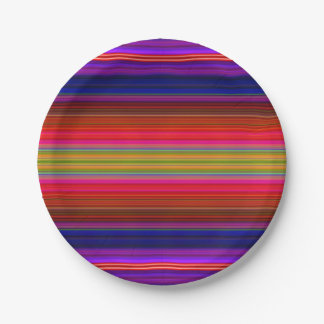 Paper Plates Bright Neon Fiesta Stripes Pattern 7 Inch Paper Plate