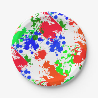 Paper Plates Bright Neon Paint Splatter Pattern