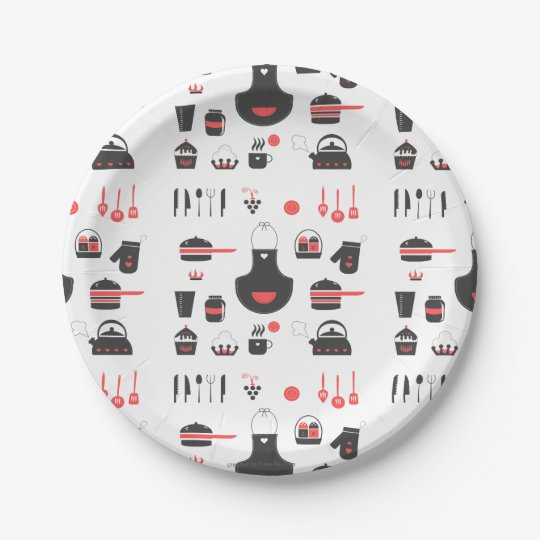 Paper Plates Cute Red and Black Vintage Retro Paper Plate  sc 1 st  Zazzle & Paper Plates Cute Red and Black Vintage Retro Paper Plate ...