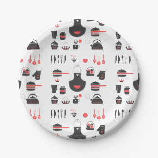 Paper Plates, Cute Red and Black, Vintage, Retro 9 Inch Paper Plate