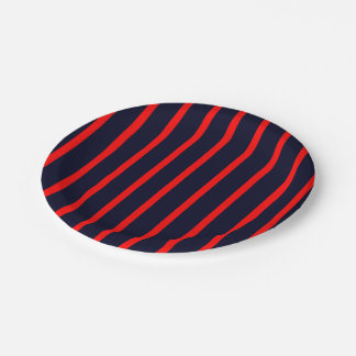 Paper Plates Dark Blue with Red Stripes 7 Inch Paper Plate