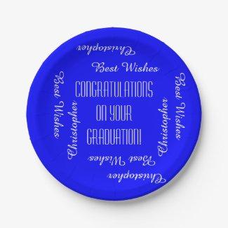 Paper Plates, Graduation Party Names, Blue White