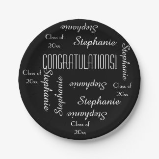 Paper Plates, Graduation Party Repeating Names 7 Inch Paper Plate