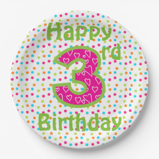 Paper Plates/Happy 3rd Birthday with Polka Dots Paper Plate