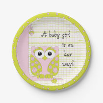 """Paper Plates """"Pink/Green Owl"""""""