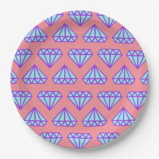 Paper Plates: Pink plate & purple diamonds