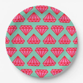 Paper Plates: Pink & Teal Diamonds Paper Plate