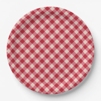 Paper Plates - Red Gingham Pattern