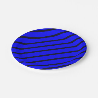 Paper Plates Royal Blue with Dark Blue Stripes 7 Inch Paper Plate