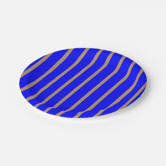 Paper Plates Royal Blue with Golden Stripes 7 Inch Paper Plate