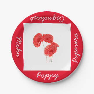 Paper Poppy plate of 17.8 cm