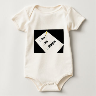 Paper questionnaire yes no maybe pencil baby bodysuit