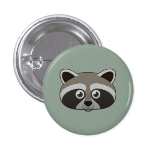 Paper Raccoon 1 Inch Round Button