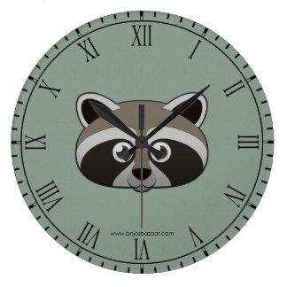 Paper Raccoon Large Clock