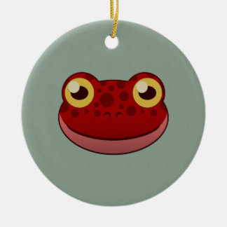 Paper Red Frog Double-Sided Ceramic Round Christmas Ornament