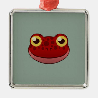 Paper Red Frog Square Metal Christmas Ornament