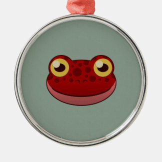 Paper Red Frog Round Metal Christmas Ornament