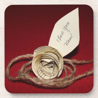 Paper Rose on Red, I Love You Mom! Personalizable Drink Coaster