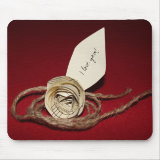 Paper Rose, Twine & I Love You on Red Background Mouse Pad
