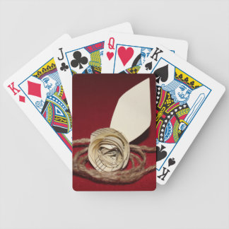 Paper Rose with Twine on Red Background Bicycle Playing Cards