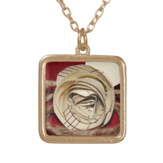 Paper Rose with Twine on Red Background Gold Plated Necklace