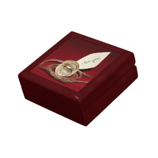 Paper Rose with Twine on Red - I Love You Gift Box