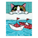 Paper Sail Boats - Calico Cat Art Postcard