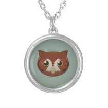 Paper Screech-Owl Silver Necklace
