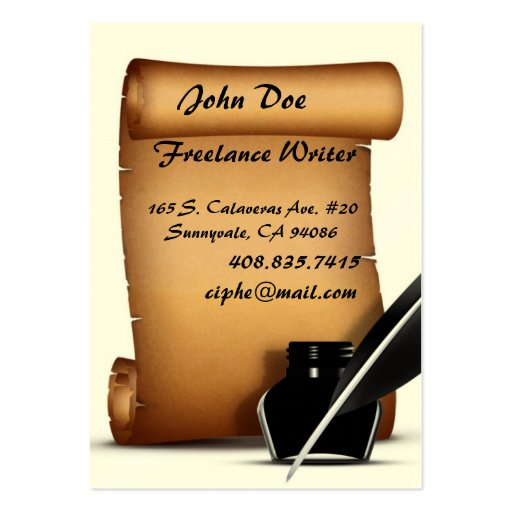 Paper Scroll Ink Quill Business Cards