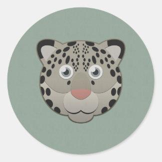 Paper Snow Leopard Classic Round Sticker