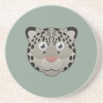 Paper Snow Leopard Sandstone Coaster