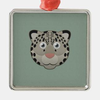 Paper Snow Leopard Metal Ornament