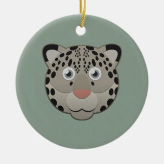Paper Snow Leopard Double-Sided Ceramic Round Christmas Ornament