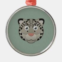 Paper Snow Leopard Premium Round Ornament