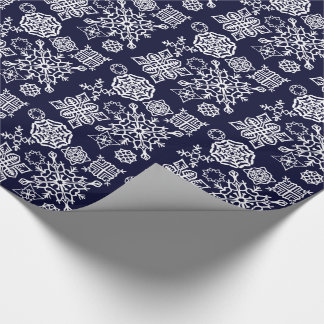 Paper Snowflakes (Dark Blue/White) Wrapping Paper