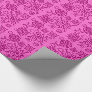 Paper Snowflakes (Pink) Wrapping Paper