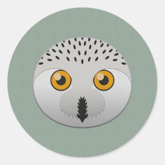 Paper Snowy Owl Classic Round Sticker