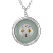 Paper Snowy Owl Silver Necklace