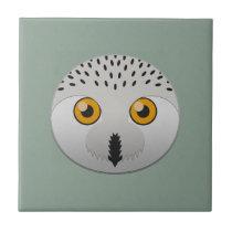 Paper Snowy Owl Ceramic Tile