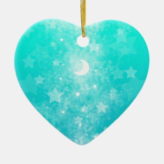 Paper Stars and Moon Fantasy Celestial Art Ceramic Ornament
