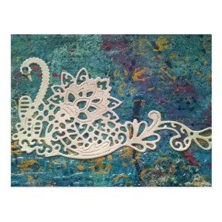 Paper swan postcard