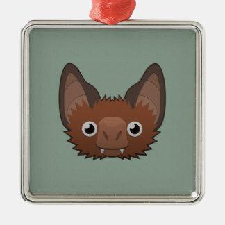 Paper Vampire Bat Square Metal Christmas Ornament
