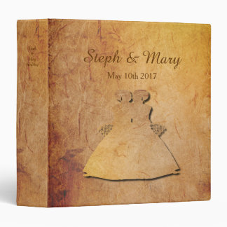 Paper Vintage Texture Lesbian Wedding Album Vinyl Binder